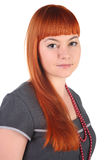 Charming girl with long red hair. Stock Photos