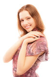 Charming girl in motley dress Royalty Free Stock Photos