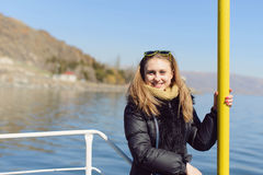 Charming Girl on Motor Boat Royalty Free Stock Photo