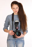 Charming girl photographer. Royalty Free Stock Images