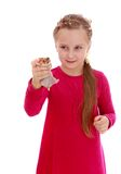 Charming girl playing with a hamster Stock Image