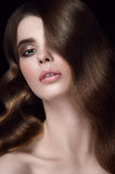 Charming girl portrait. Hairdo hollywood waves. Stock Images