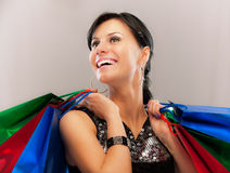 Charming girl with purchases Royalty Free Stock Photography