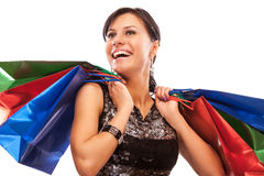 Charming girl with purchases Stock Image