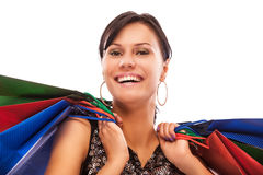 Charming girl with purchases Royalty Free Stock Photos