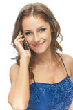 Charming girl speaks by phone Royalty Free Stock Photo