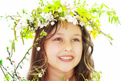Charming girl spring. On a white background Royalty Free Stock Photography