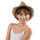 Charming girl in a straw hat. Charming brown-eyed girl in a straw hat Stock Images