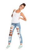Charming girl in stylish jeans Stock Photo