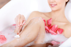 Charming girl taking a bath Royalty Free Stock Photography