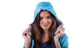Charming girl wearing jacket with hood on Royalty Free Stock Images
