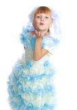 Charming girl in white and blue dress. Stock Image