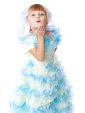 Charming girl in white and blue dress. Royalty Free Stock Images