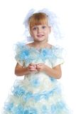 Charming girl in white and blue dress. Stock Photography