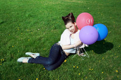 Charming Girl With Balloons Royalty Free Stock Images