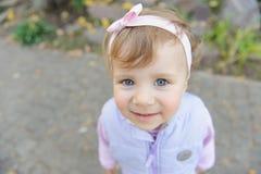 Charming Girl in Yard Stock Photo