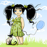 Charming girlie. Small drawing girlie with kitten Stock Photography