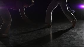 Charming girls practicing capoeira in darkness against spotlight . Close-up slow motion. Close-up slow motion. Two charming girls are practicing capoeira in stock video