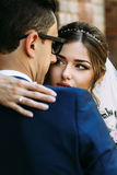 Charming glance of the young happy bride Stock Image