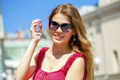 Charming happy blonde girl in sunglasses Stock Photography