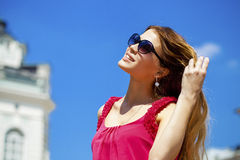 Charming happy blonde girl in sunglasses Royalty Free Stock Photo