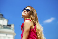 Charming happy blonde girl in sunglasses Royalty Free Stock Photos