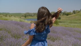 Charming woman with fluttering brown hair outdoors. Charming happy woman flicking her long brown hair fluttering in the wind, turning back with playful enigmatic stock video footage