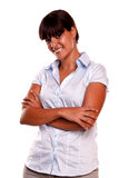 Charming hispanic female looking at you Stock Photo