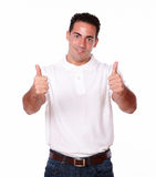 Charming hispanic guy with positive sign Stock Photography