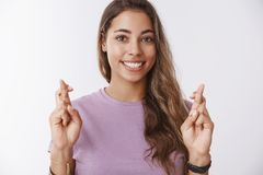Free Charming Hopeful Girlfriend Keeping High Hopes Cross Fingers Good Luck Smiling Broadly Anticipating Dream Come True Royalty Free Stock Image - 149966026