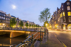 Charming houses and canal in Amsterdam, The Netherlands Stock Images