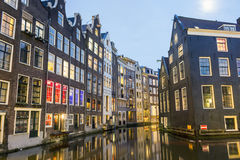 Charming houses and canal in Amsterdam, The Netherlands Royalty Free Stock Photo