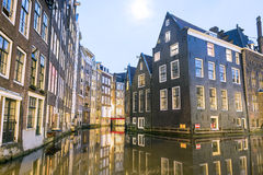 Charming houses and canal in Amsterdam, The Netherlands Royalty Free Stock Photos