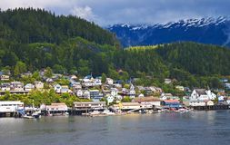Charming Ketchikan, Alaska. Evening view of Ketchikan, Alaska--an Inside Passage town known for its salmon, Dungeness crabs, and 153 inches of rain per year royalty free stock photo