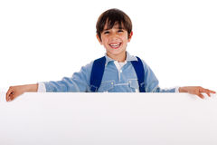 Charming kid holding blank board Stock Photo