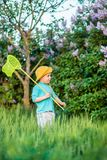 A charming kid playing with a scoop on a meadow in a warm and sunny summer or spring day. Active rest for children. A boy boy is fun with pleasure for stock photo