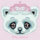 Charming lace kitty princess in a pink color mint crown of crystals and rhinestones. Royalty Free Stock Photo
