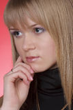 Charming lady. On red backgroun Royalty Free Stock Images
