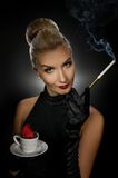 Charming lady with coffe cup royalty free stock photos