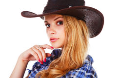 Charming lady in cowboy hat Royalty Free Stock Photo