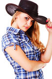 Charming lady in cowboy hat Stock Image