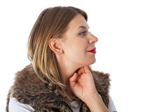 Charming lady with fur vest Royalty Free Stock Photo