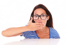 Charming lady with glasses looking surprised Stock Photo