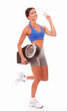 Charming lady happily carrying weight scale Royalty Free Stock Photo