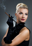 Charming lady smoking cigarette Stock Photo