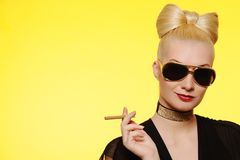 Charming Lady With A Cigarette Royalty Free Stock Image