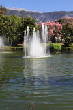 Charming lake and a fountain Royalty Free Stock Photo