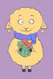 Charming lamb with a present vector illustration Royalty Free Stock Image