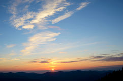 Charming landscape with sunrise in the mountains (tranquility, m Stock Photos