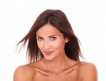 Charming latin female smiling at camera royalty free stock images